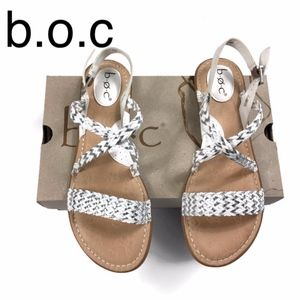 b.o.c Dena Braided Comfort Sandals in White/Silver